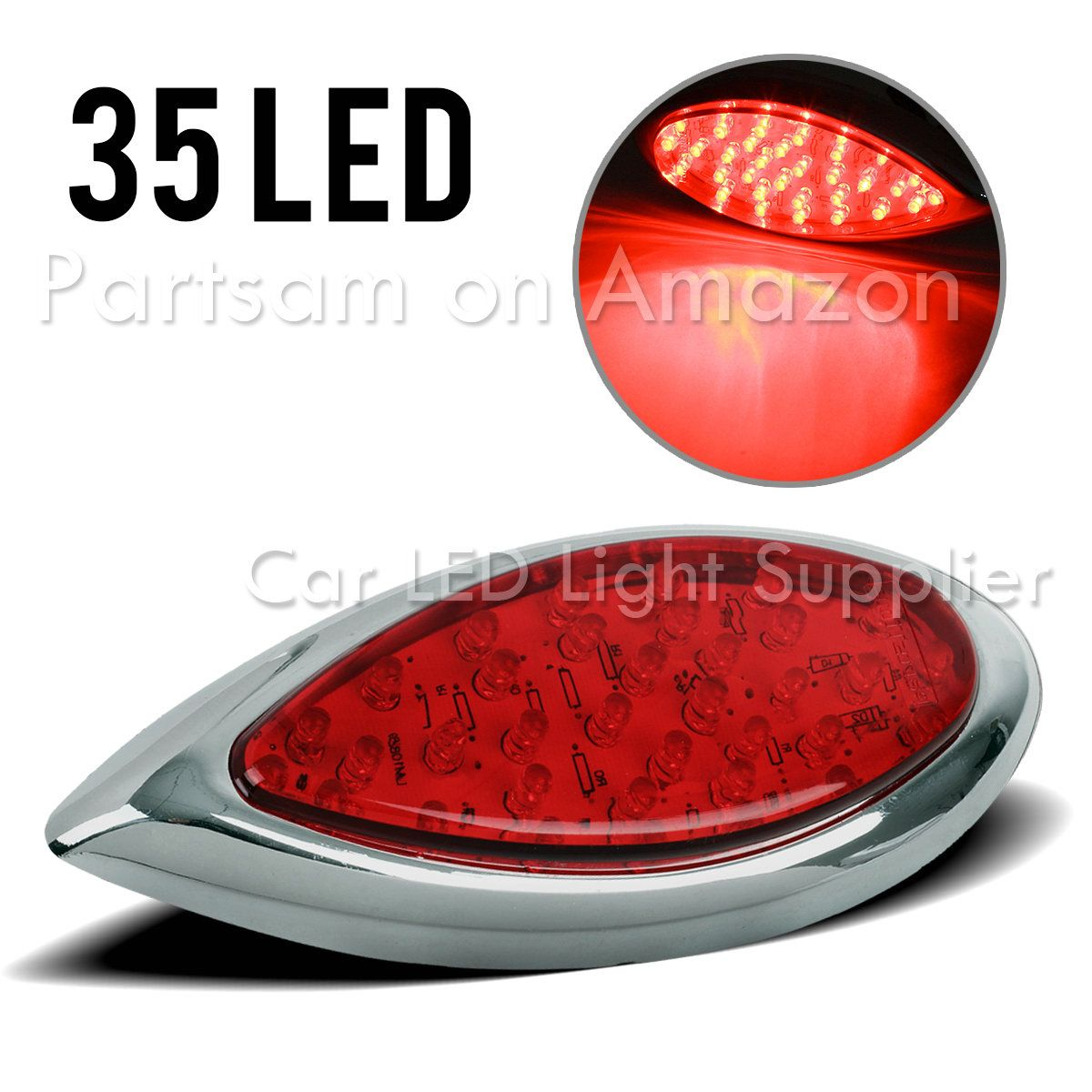 Partsam Side Marker Light 16led Peterbilt Style Replacement Surface Mouht 6 1 2inch Amber Fitment Universa Peterbilt Freightliner Freightliner Trucks