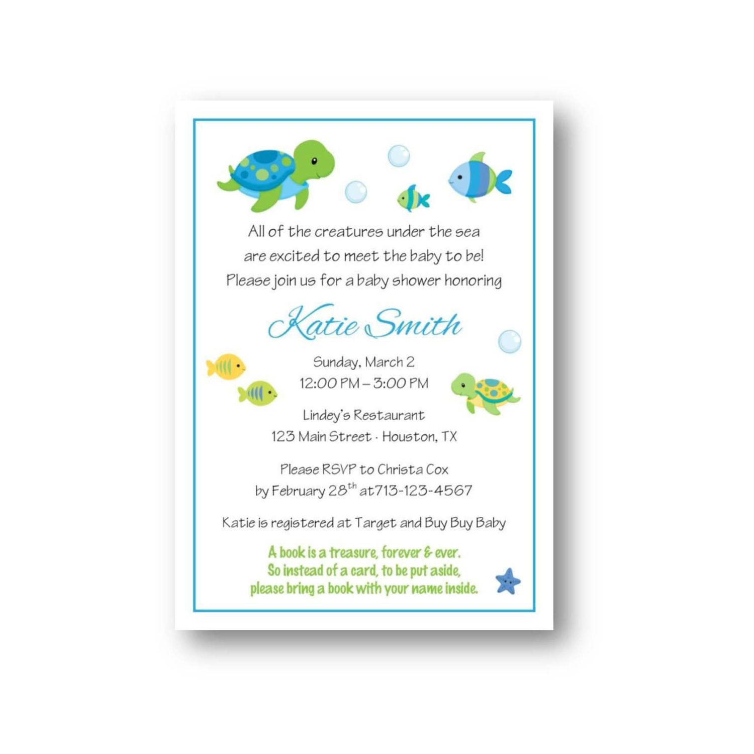 sea animals baby shower invitation by sweetpeanutpaperie on Etsy ...