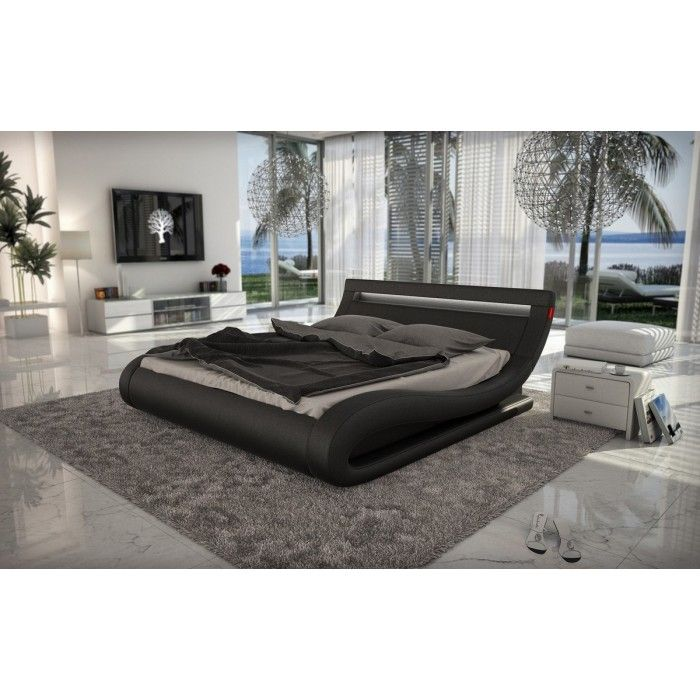 Modrest Corsica - Contemporary Black Leatherette Bed with Headboard