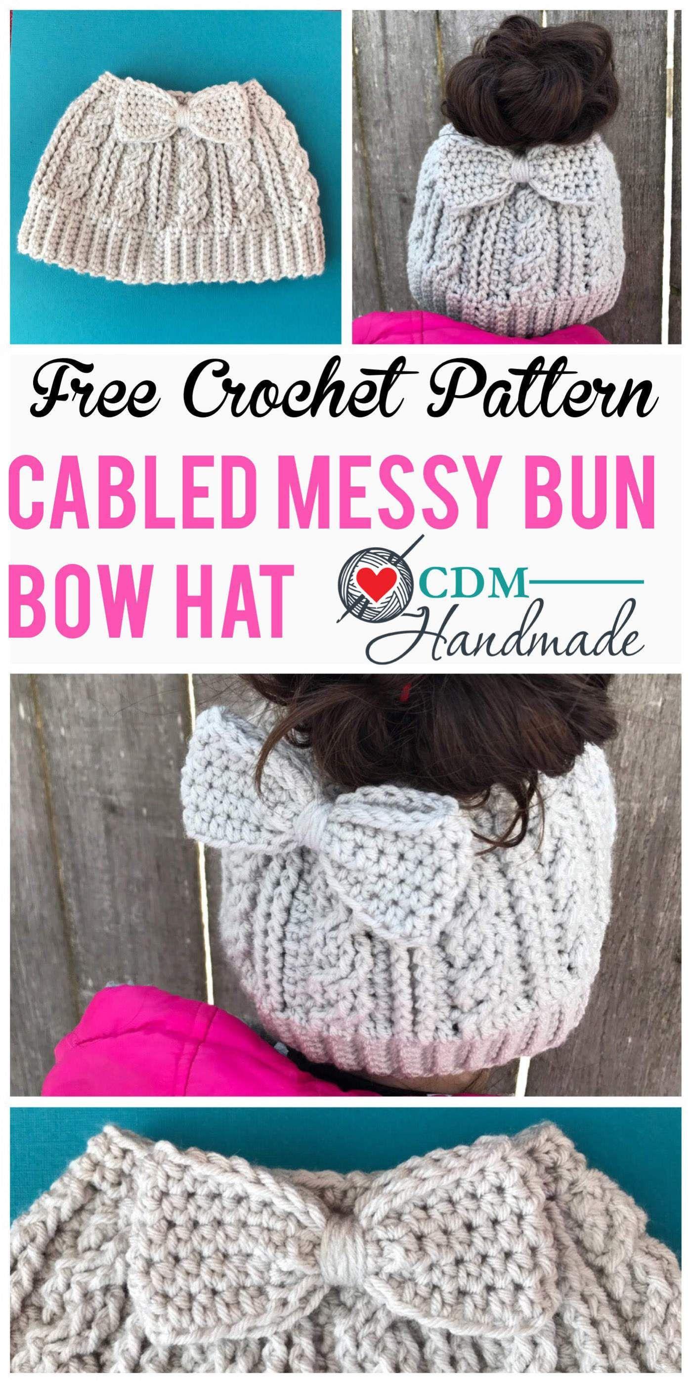 cabled messy bun bow hat pinterest | Puff stitch crochet | Pinterest ...