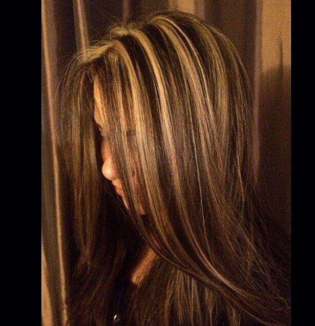 Blonde and chocolate brown highlight lowlight with hair - Hair salon extensions ...