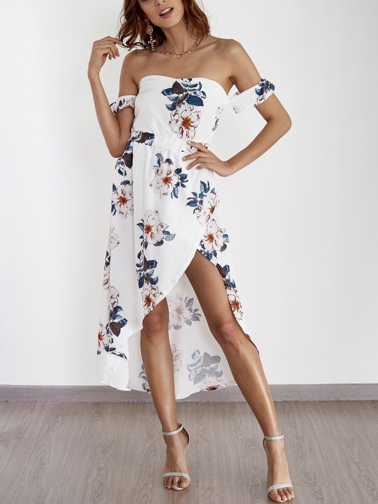 Random Floral Print Off Shoulder Splited Hem Maxi Dress In White In 2020