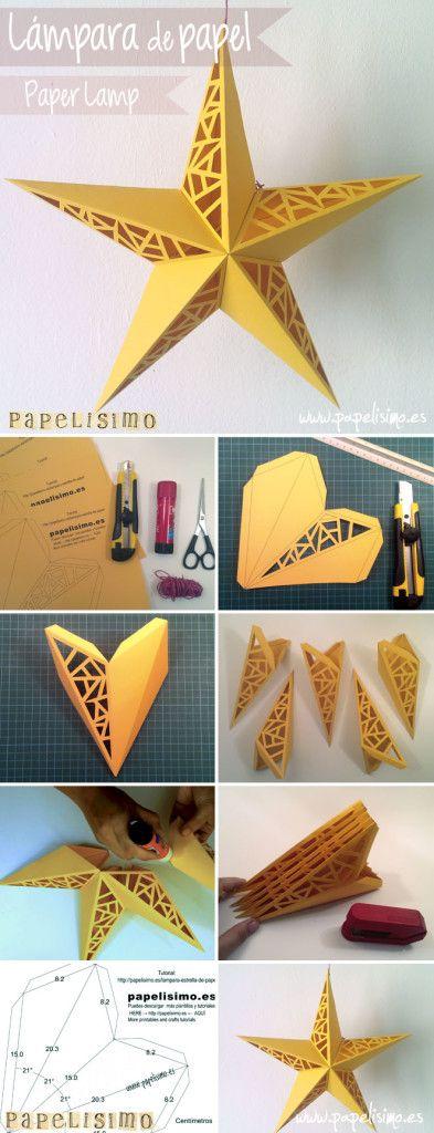Lampara papel con forma de estrella. Paper Star Lamp. Con plantilla y vídeo  http://papelisimo.es/lampara-estrella-de-papel/