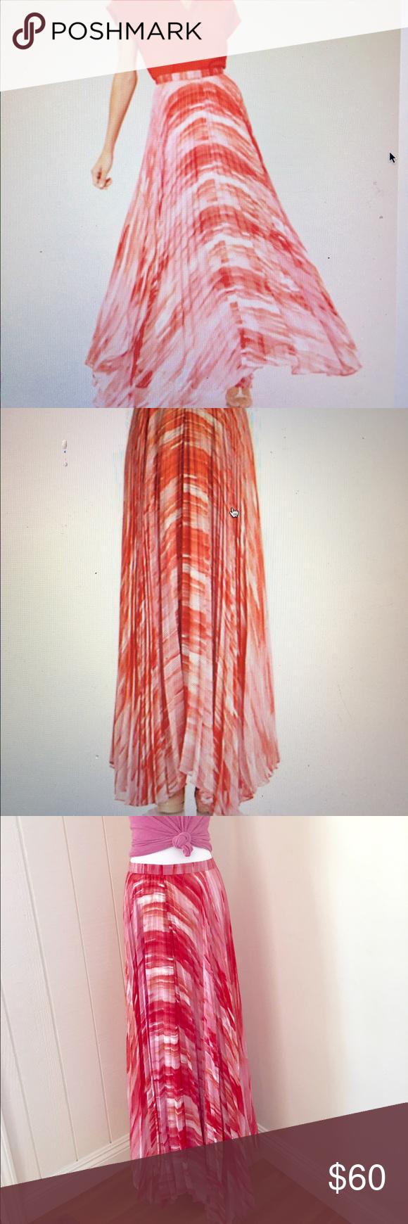Alice & Olivia Shannon Pleated Maxi Chiffon Skirt