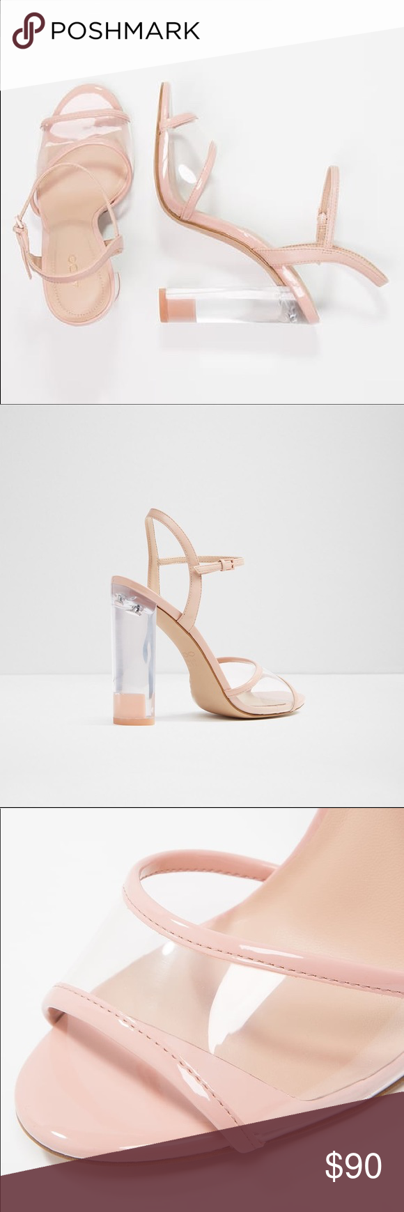 b4bd53a73eb Aldo CAMYLLA LIGHT PINK Lucite high heel and skinny straps bare it all to  elevate any look. Details High heel sandal Open almond toe Block heel Laces  ...
