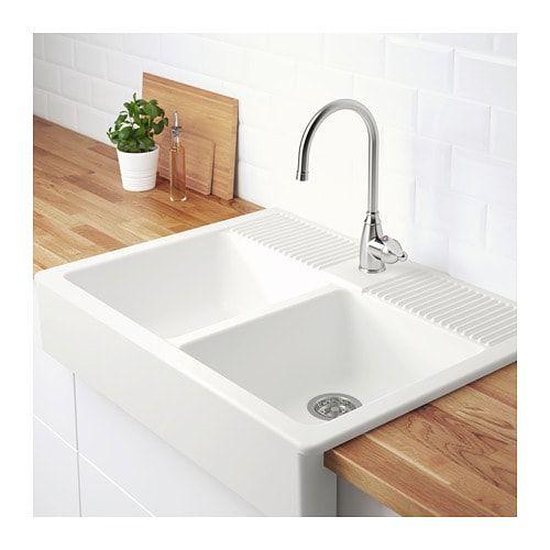 DOMSJÖ Onset sink, 2 bowls, white Pinterest Sinks, Bowls and