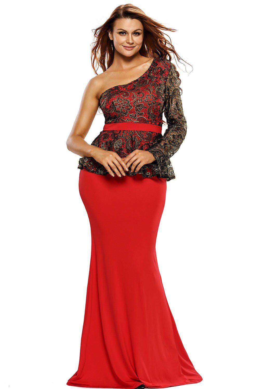 ddbc1f0c3b928f Red One Shoulder Black Floral Lace Peplum Top Long Skirt Formal Dresses  ChicLike.com