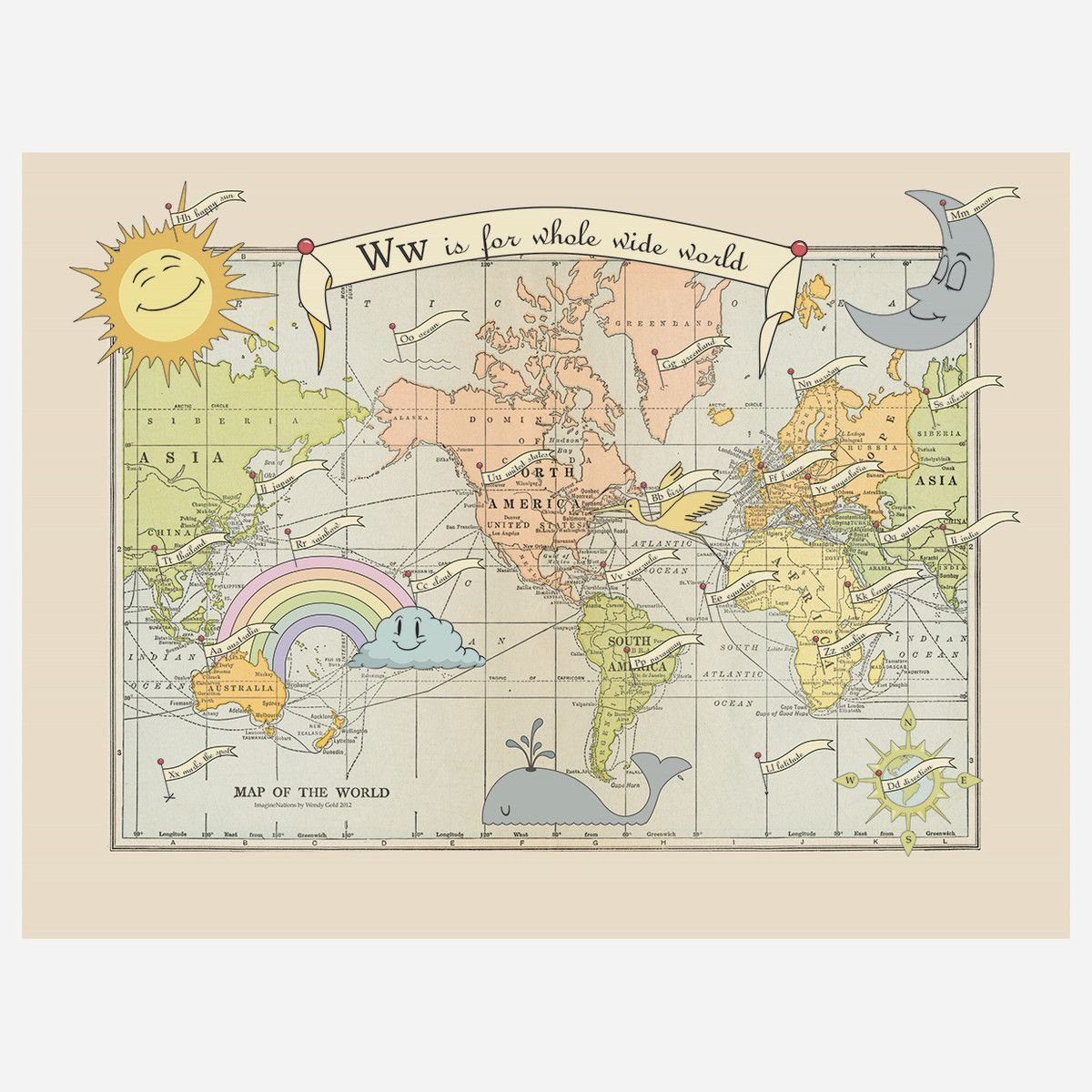 Whole Wide World Map 18x24 You Are Here Map Wide World Art