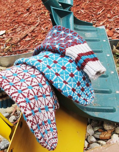 Made in the USA mittens designed by Donna Druchunas, pattern available free from knitty.