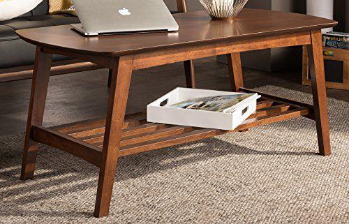 Baxton Studio Sacramento Mid Century Modern Scandinavian Style Coffee Tabl Walnut Furniture Living Room Scandinavian Style Furniture Living Room Furniture Sale