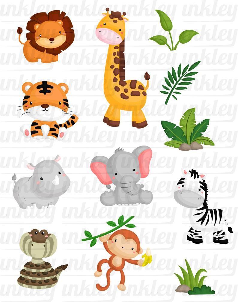 Jungle Animal Clipart Animal Lindo Safari Clipart Svg Etsy Free Clip Art Animal Clipart Book Art Projects