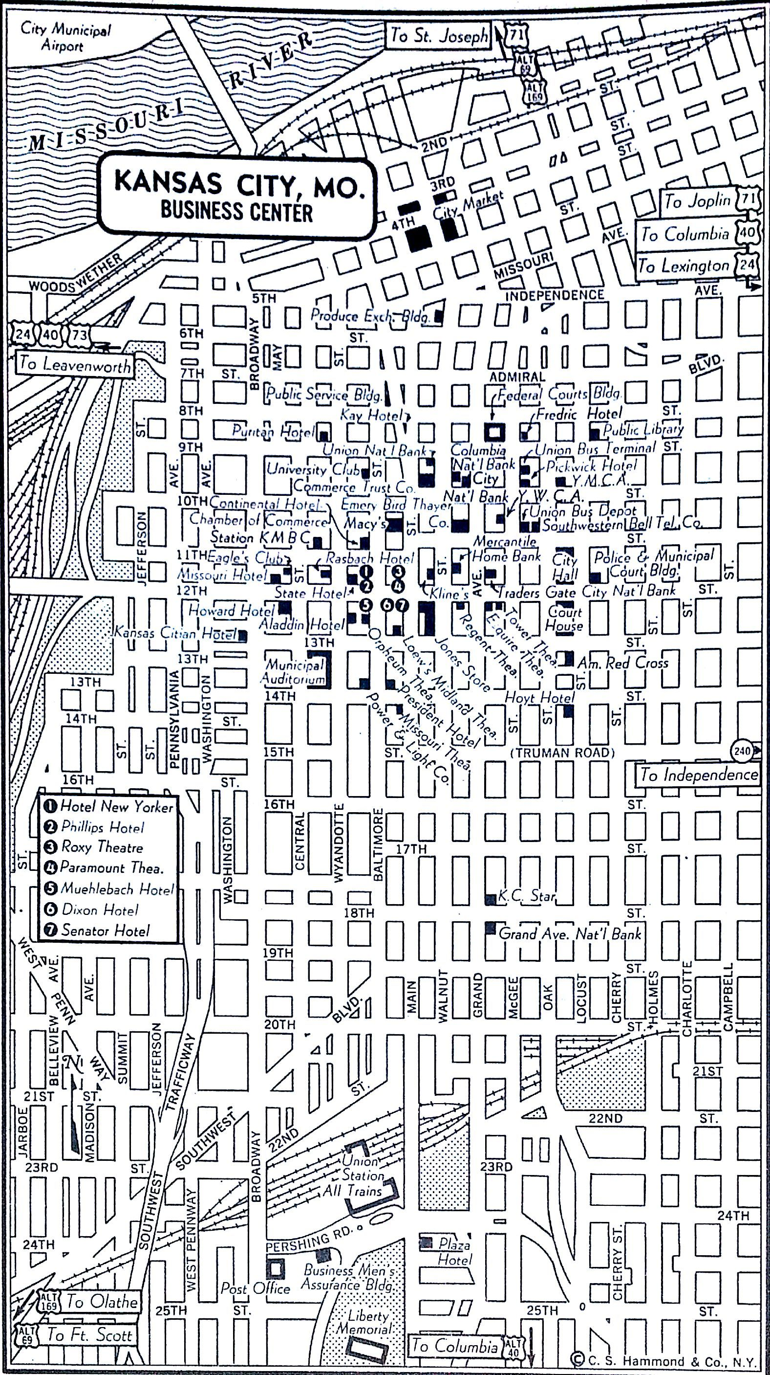 Kansas City 1954 Kansas City Map Kansas City Downtown Kansas City