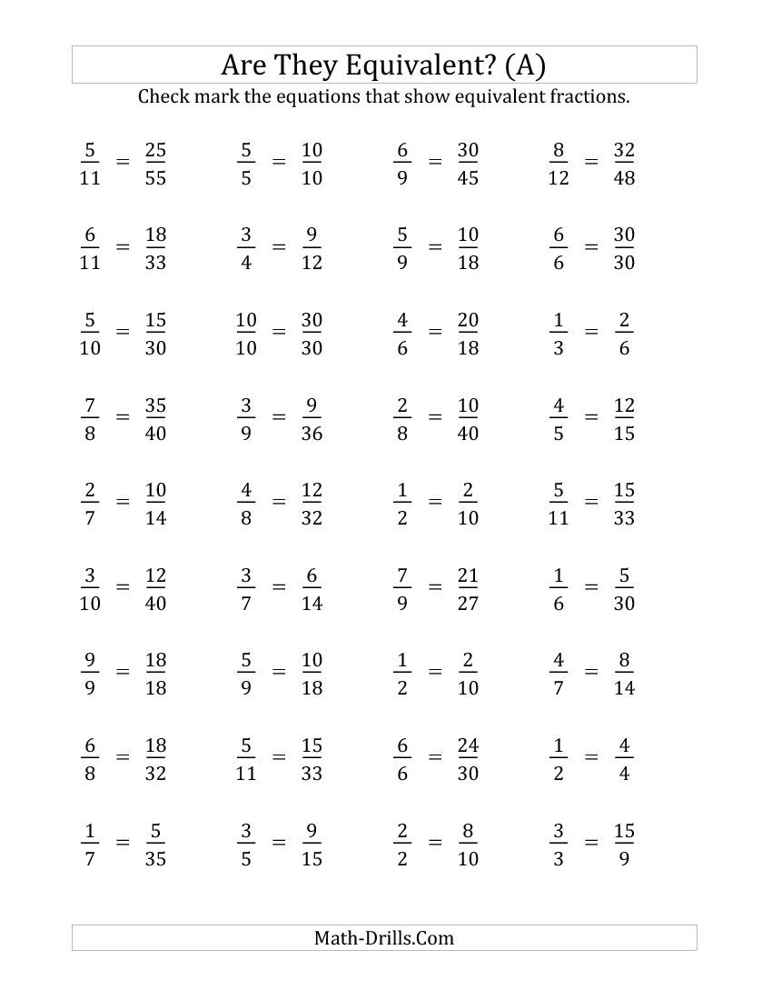 Are These Fractions Equivalent Multiplier Range 2 to 5 A Math – Fractions Printable Worksheets