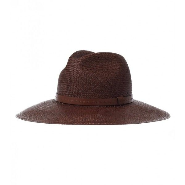 Gucci Nut Brown Straw Wide-Brimmed Hat (515 CAD) ❤ liked on Polyvore featuring accessories, hats, gucci hat, wide brim hat, brown hat, wide brim straw hat and gucci