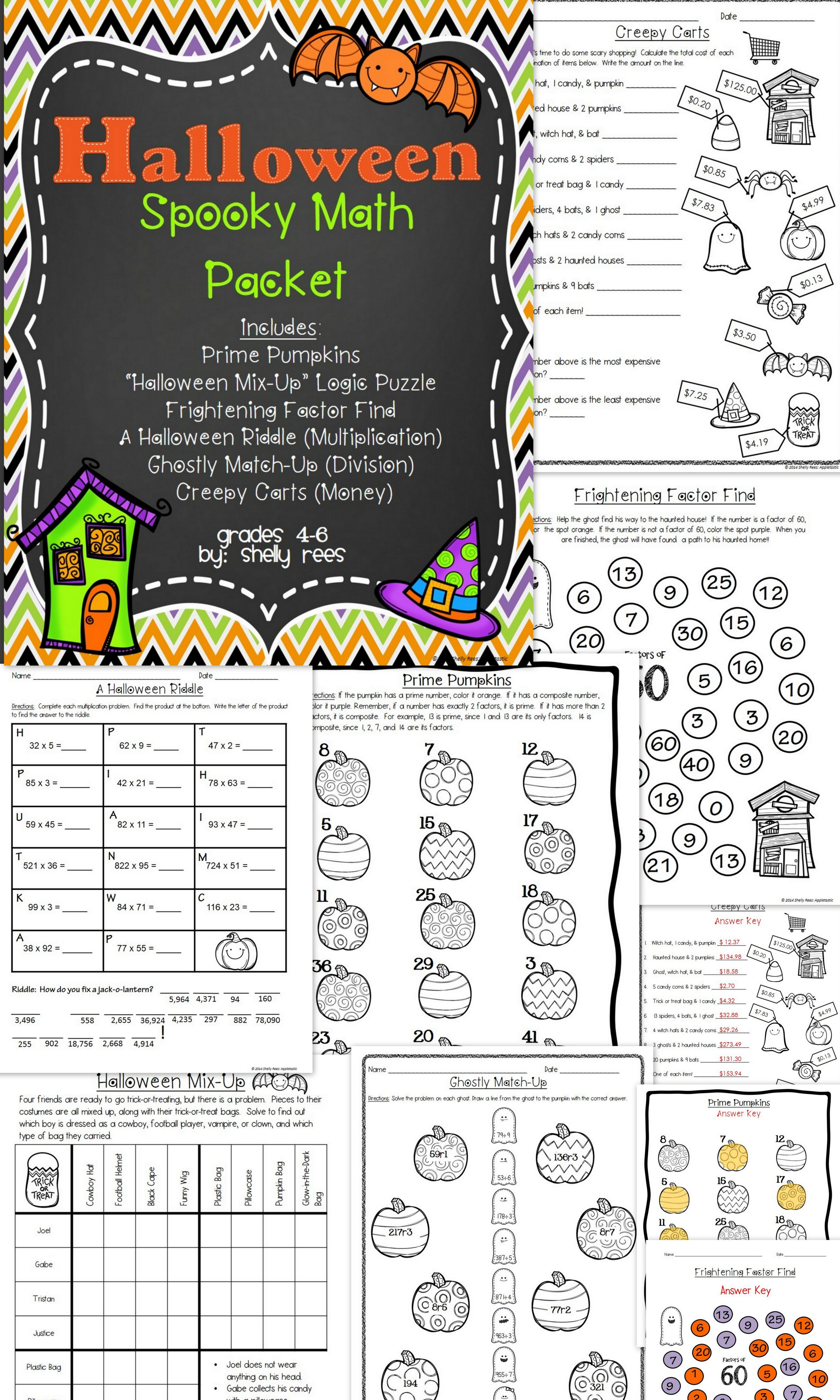 Halloween Math Packet {No Prep Halloween Activities} | Fun ...