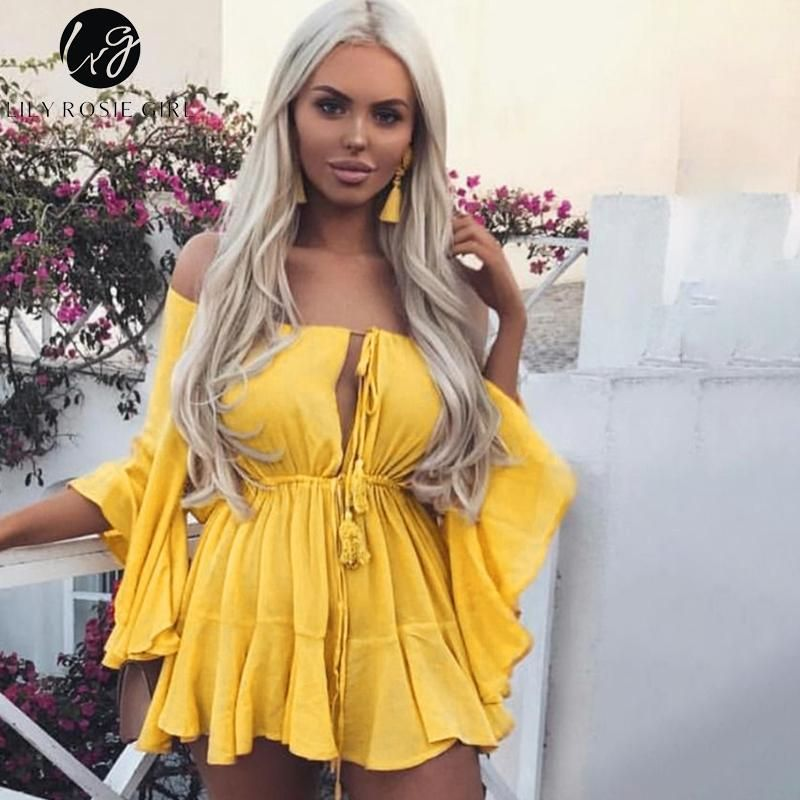c801bd23881 Lily Rosie Girl Off Shoulder Yellow Playsuits Women Big Flare Sleeve red  Jumpsuits 2018 Beach Party Casual Lace Up Rompers