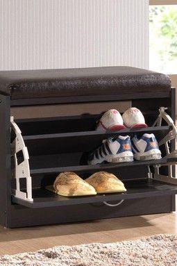 Bainbridge Dark Brown Shoe Rack With Seating Cushion Our Home