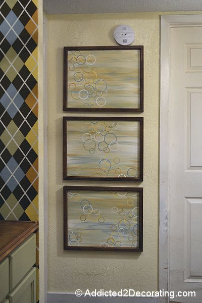 DIY~Large Scale, Modern Triptych Wall Art~Tutorial. Would be a great idea in dining room without circles.