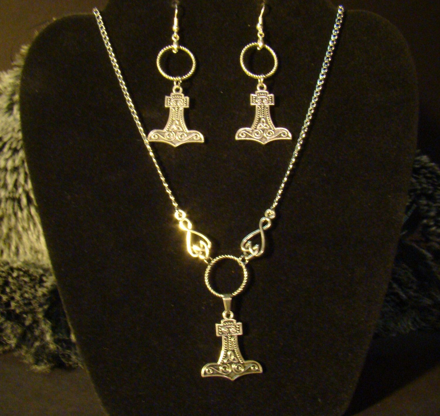 Women's Thor's Hammer Silver Earring and Necklace SET... Valkyrie Viking strength Norse gods and goddesses Pagan Asatru Freya frigg Sif by jewelryofasgard on Etsy
