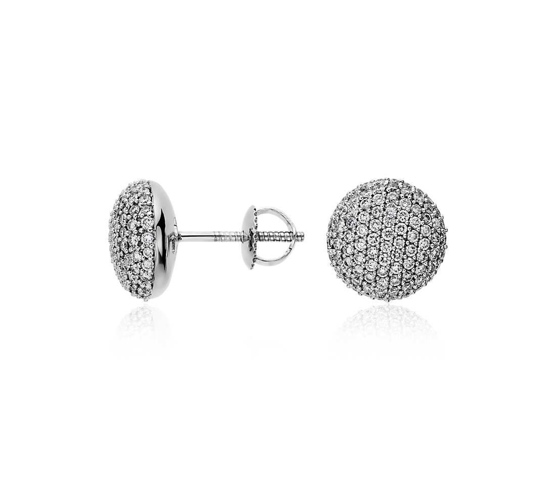 Button Micropavé Diamond Earrings in 14k White Gold