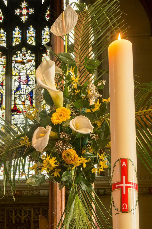 Easter Flowers And Paschal Candle Easter Flowers Easter