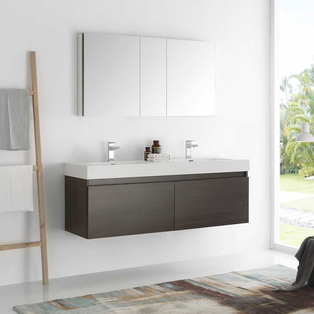 Fresca mezzo gray oak inch wall hung double sink modern bathroom