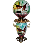 RARE Wonderful Gone with the Wind Oil Lamp ~Hand Painted Masterpiece~ Ducks in Flight ~ Outstanding Fancy Ornate Font Spill Ring and Base~ Original Condition ~ Collector Piece