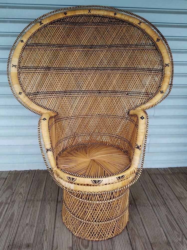 Superb Vintage Large Peacock Chair Wicker High Fan Back Rattan Mid Gmtry Best Dining Table And Chair Ideas Images Gmtryco