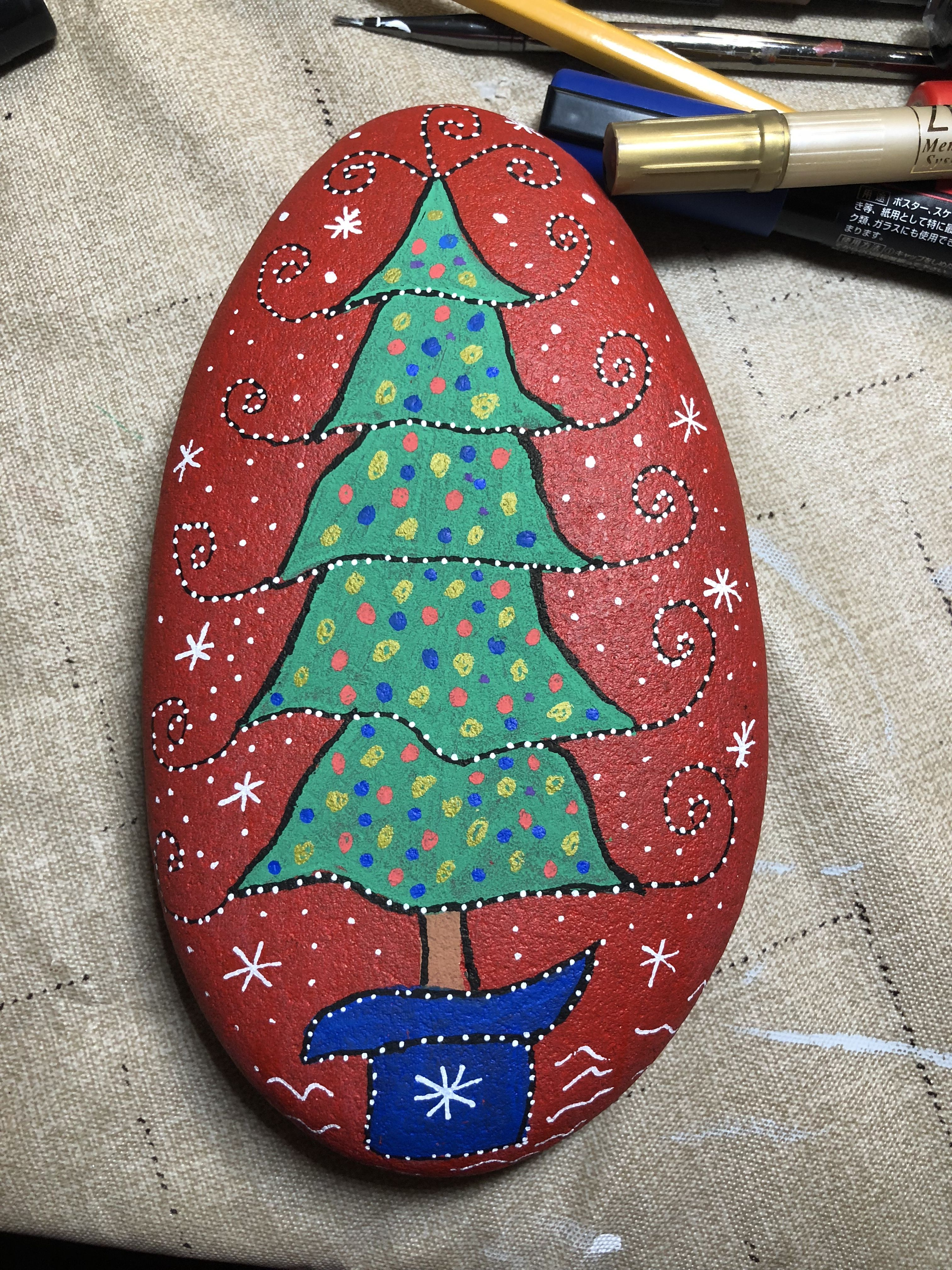 Christmas Tree Painted Rock Rock Painting Designs Painted Rocks Rock Crafts