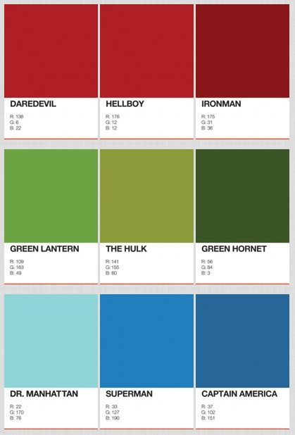 Designer Identifies The Pantone Colors Of Superheroes  G