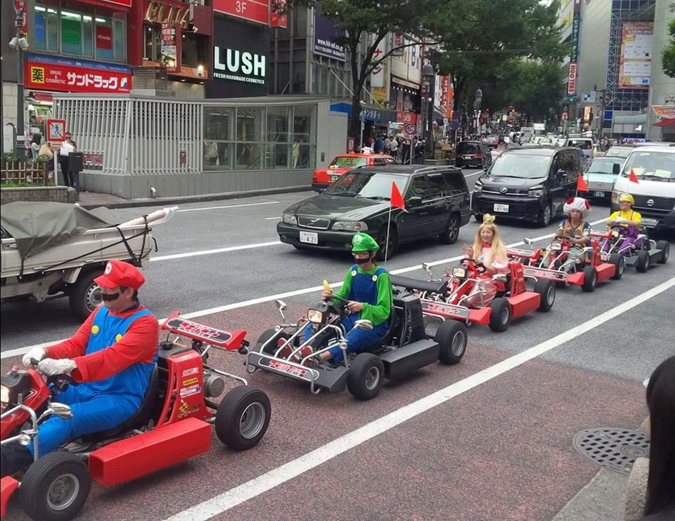 Taking Mario Kart to the streets. This way to Rainbow Road...