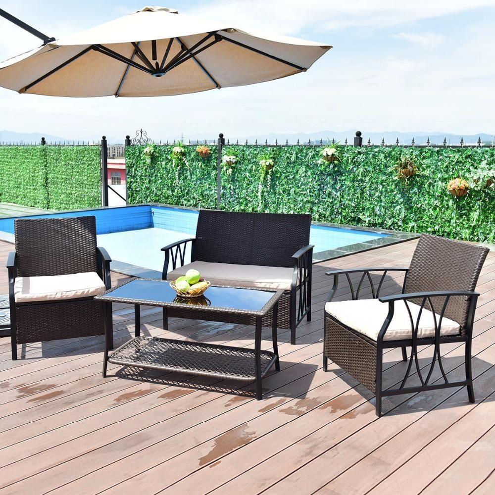Giantex 4 PC Garden Furniture Set Outdoor Patio Sectional PE Wicker Rattan Deck Table Sofa Chairs ... & Giantex 4 PC Garden Furniture Set Outdoor Patio Sectional PE Wicker ...