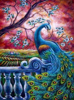 Синий павлин | Раскраска по номерам, Картины, Раскраски