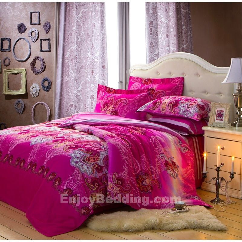 Paisley garden Print Queen Size hot pink colored Bedding