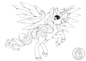 Alicorn Pony Lineart Yampuff Chibi Coloring Pages Coloring Pages Colorful Drawings