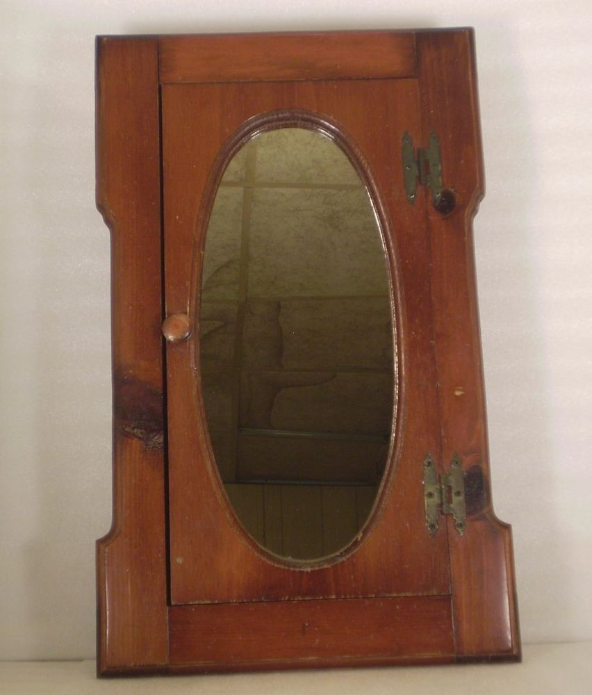 Vintage Wood Oval Mirror Medicine Cabinet Wall Mounted