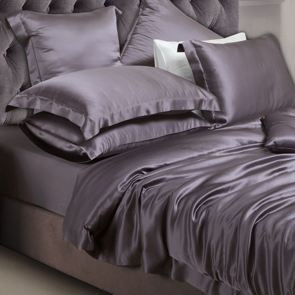 Charcoal Grey Silk Duvet Cover Satin Bedding Bedding Sets Silk