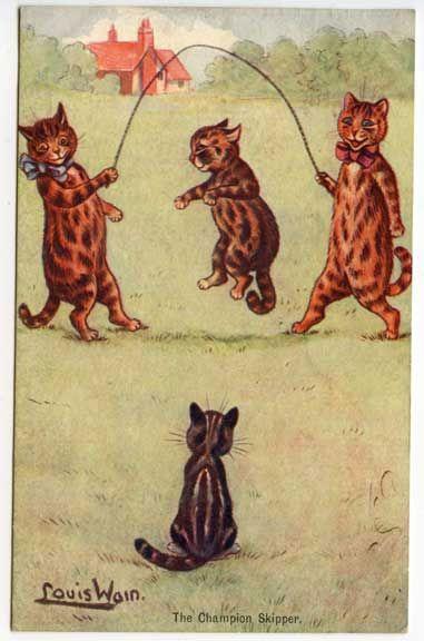 Pular corda assinado gatos postal do Louis Wain in Colecionáveis, Cartões postais, Assinados pelo artista   eBay