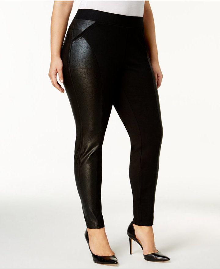 944de9a035603 INC International Concepts Plus Size Faux-Leather-Trim Leggings, Created  for Macy's