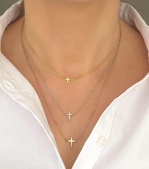 Dainty Cross Necklace, Dainty Necklace, Silver Cross Necklace, Gold Cross Necklace, Minimalist Tiny Necklace, Mini Silver Cross Necklace