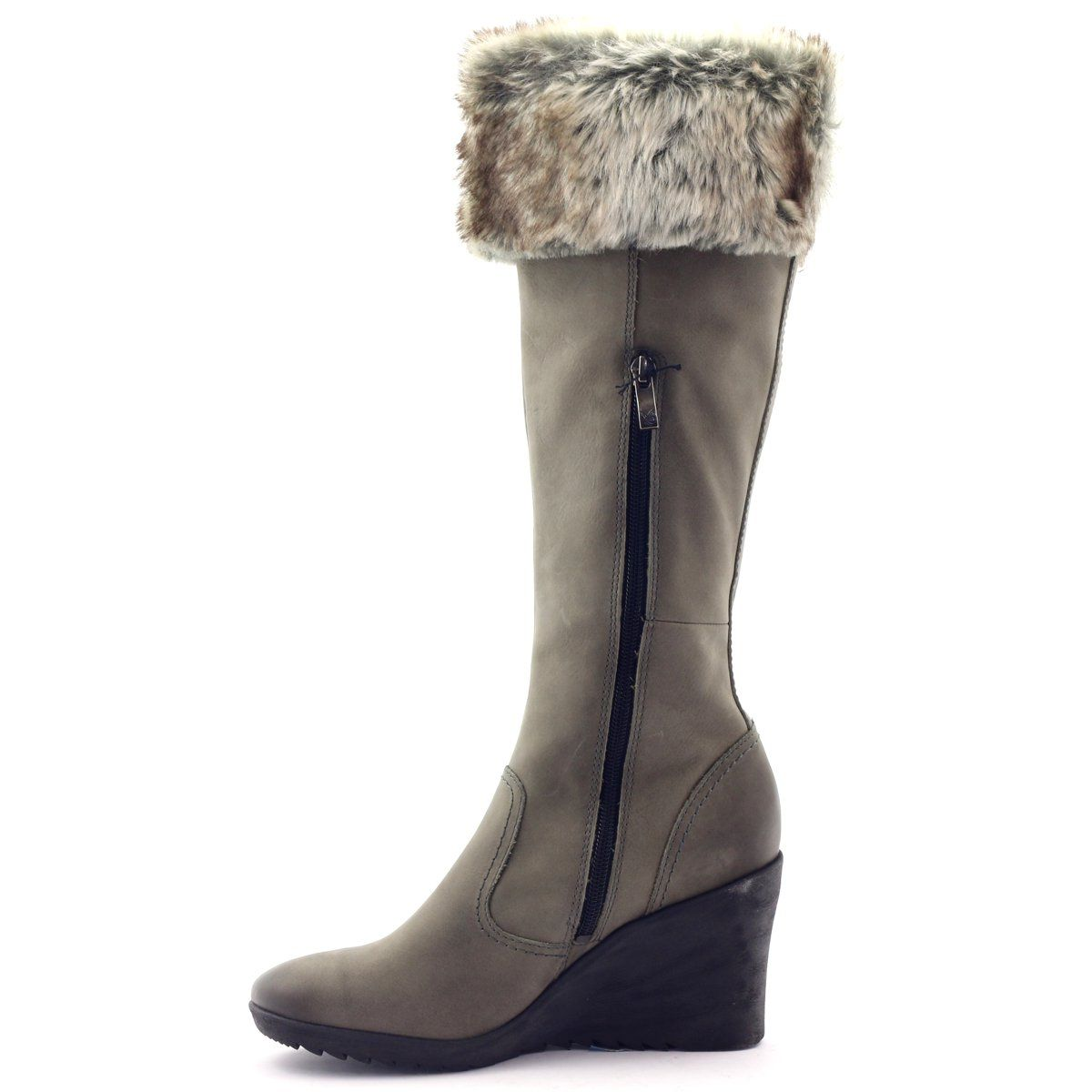 Caprice Kozaki Buty Damskie Skorzane 25607 Szare Boots Shoes Fashion