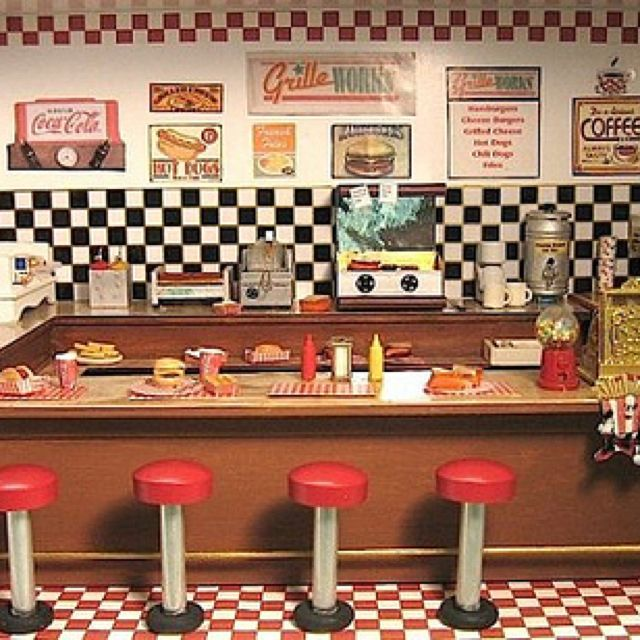 Dollhouse Miniature 1950/'s Retro Route 66 Diner Clock