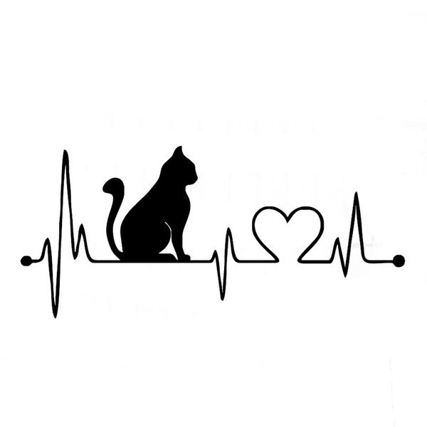 Cat with Cartoon Electrocardiogram Car Stickers Decals Fashion Motorcycle Accessories 17.8*8CM | Wish