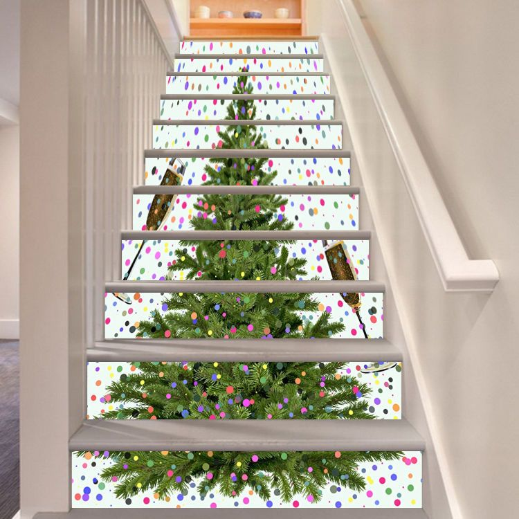 3d Christmas Tree Stair Risers Decoration Photo Mural Vinyl Decal