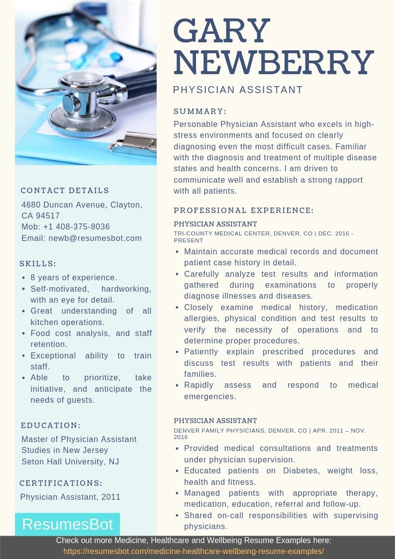 Physician assistant resume samples salary certification