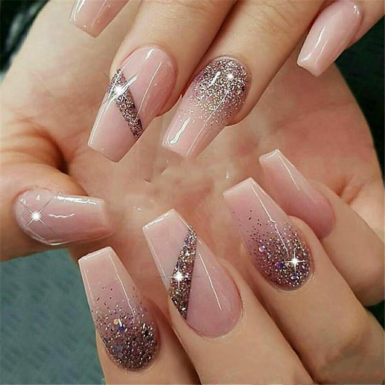 600pcsBag Ballerina Nail Art Tips TransparentNatural False