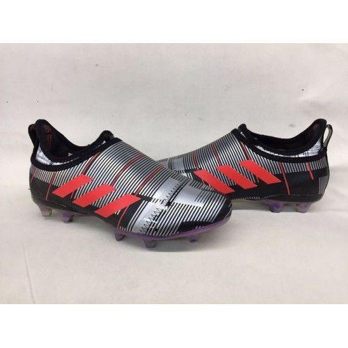 e609827a04fff Nuevos Botas De Futbol Adidas Glitch Skin Baratas FG Negro Plateado Rojo