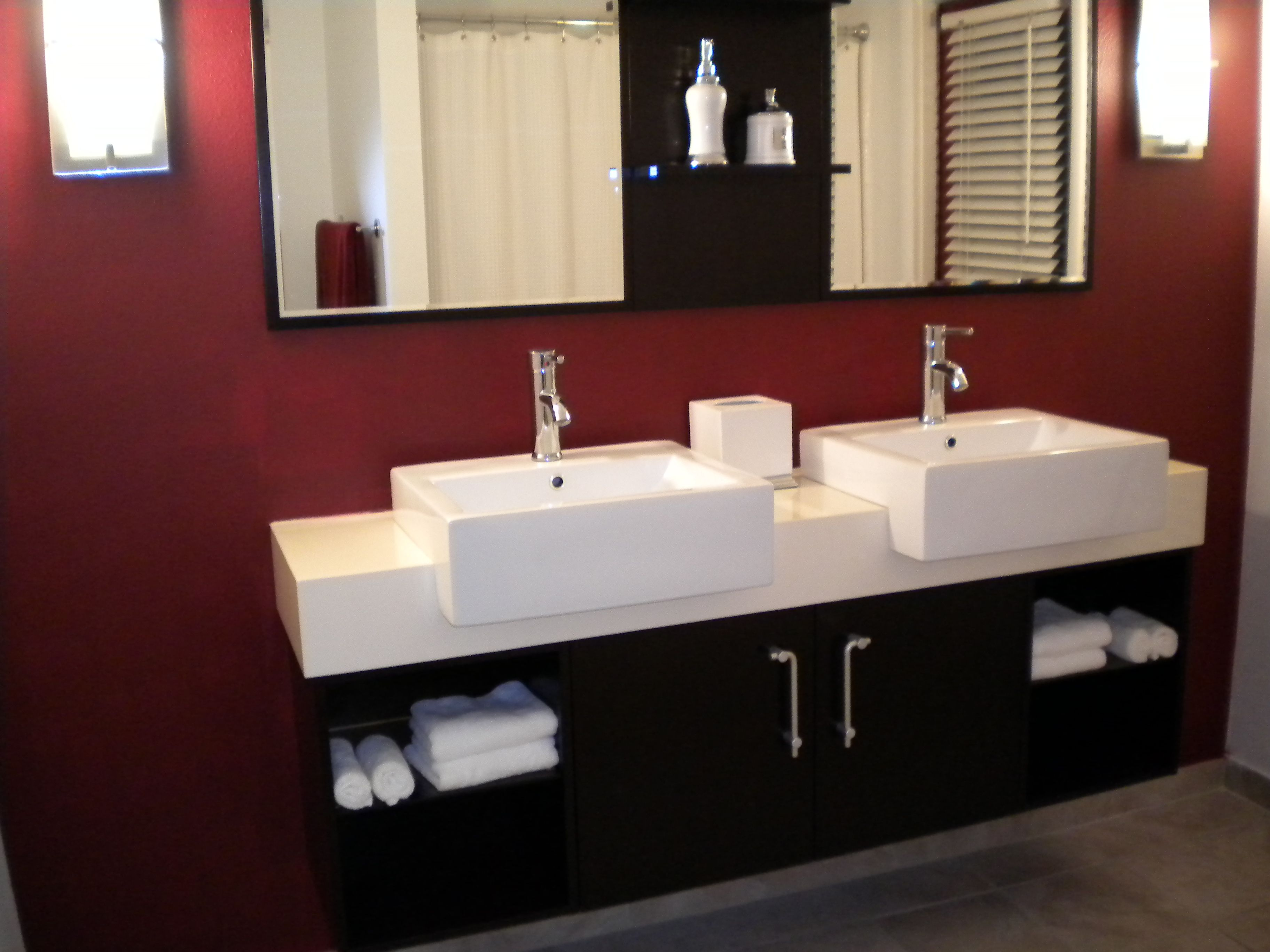 Beau Scottsdale Az. Bathroom Double Sinks Hang On The Wall This Was Purchased  Over The Internet. Came In A Ready To Install With The Plumbing And Fixtures  ...