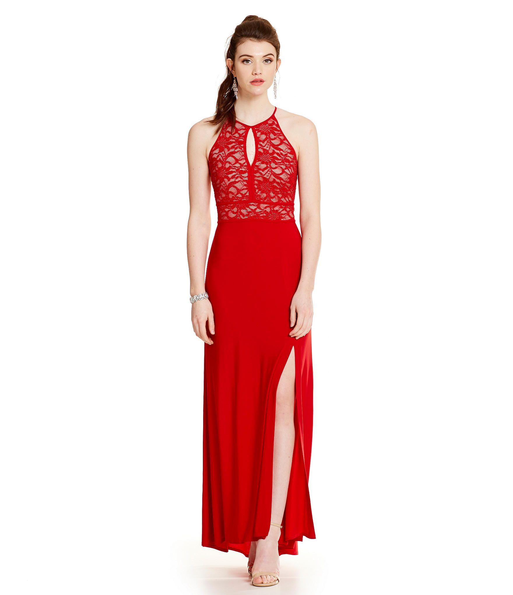 a429db2b9f8 Morgan   Co. Glitter Lace Strappy Back Gown