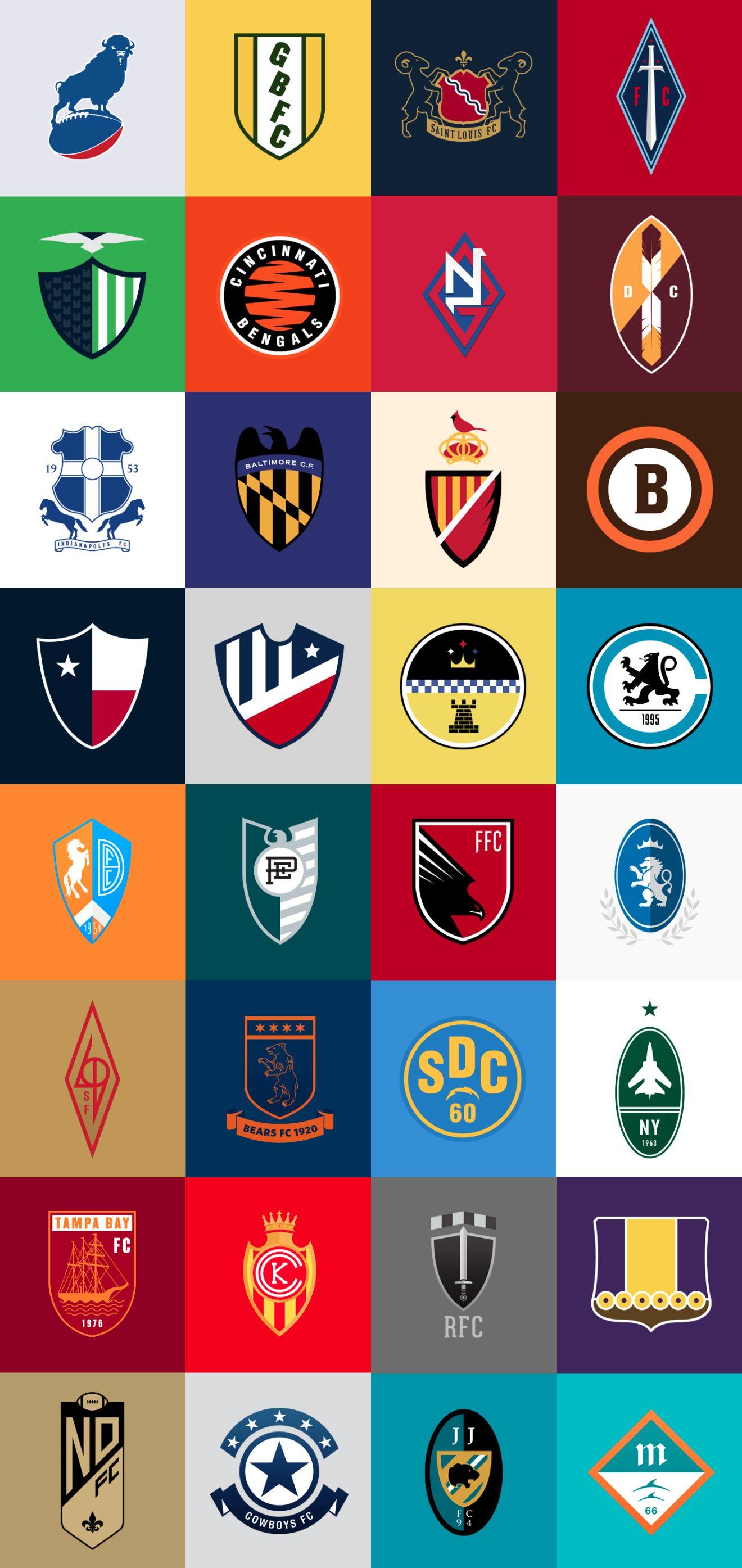 Football As Football Nfl Logos As Soccer Badges Football Logo Design Logo Redesign Nfl Logo